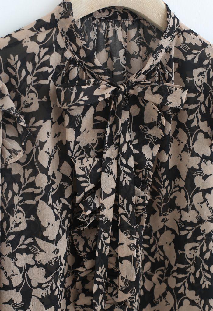 Branch Printed Tie Neck Pleats Top in Tan
