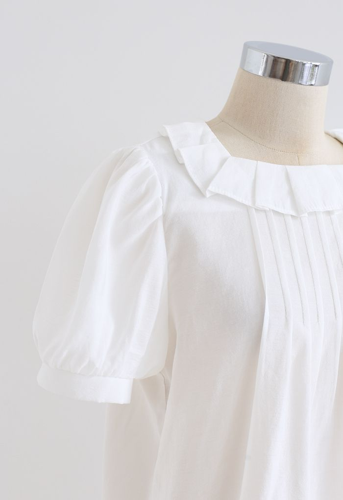 Lightsome Puff Sleeve Collared Top in White