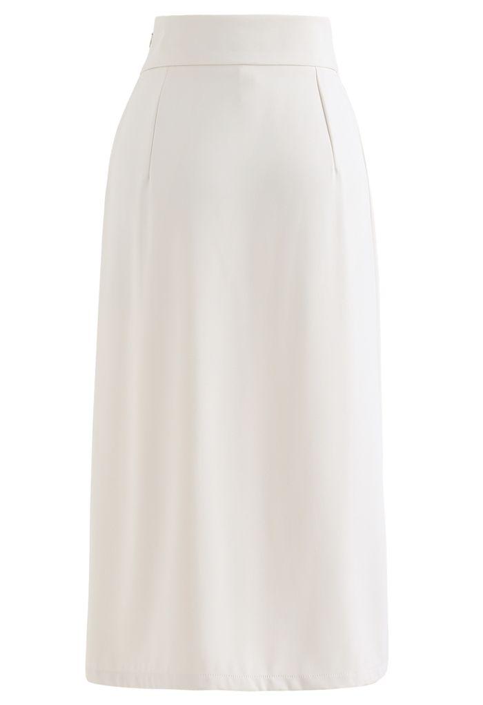 Knot Waist Slit Hem Pencil Skirt in Ivory
