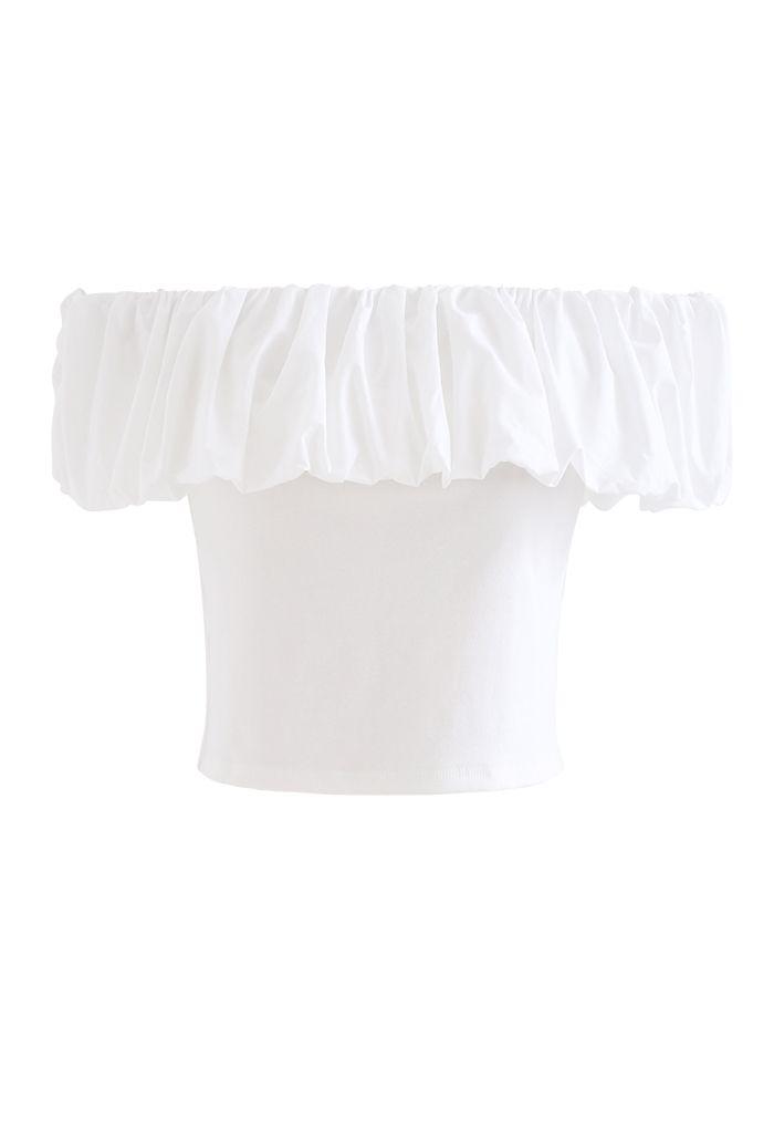 Bubble Cloud Off-Shoulder Crop Top in White