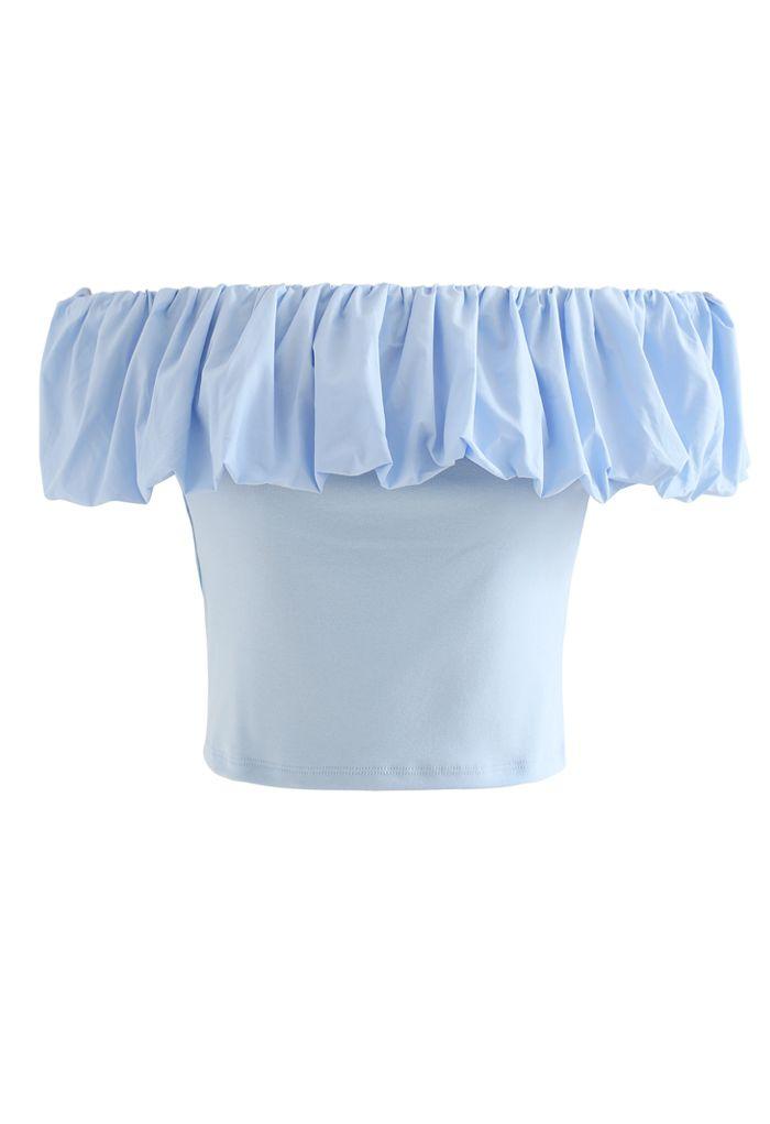 Bubble Cloud Off-Shoulder Crop Top in Blue
