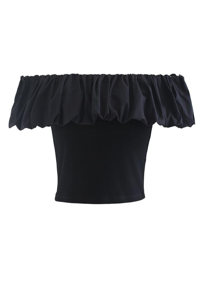 Bubble Cloud Off-Shoulder Crop Top in Black