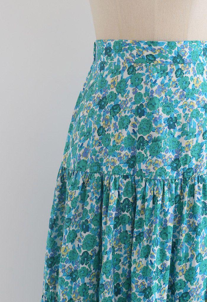 Green Floret Frilling Cotton Skirt