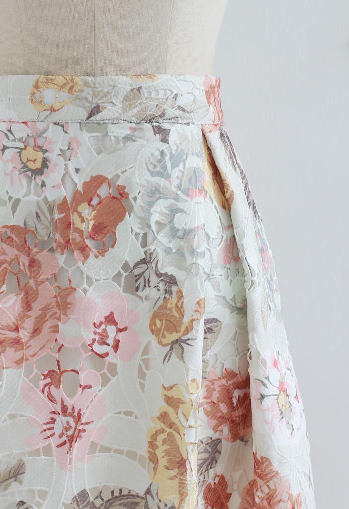 Blooming Rose Printed Full Crochet Midi Skirt