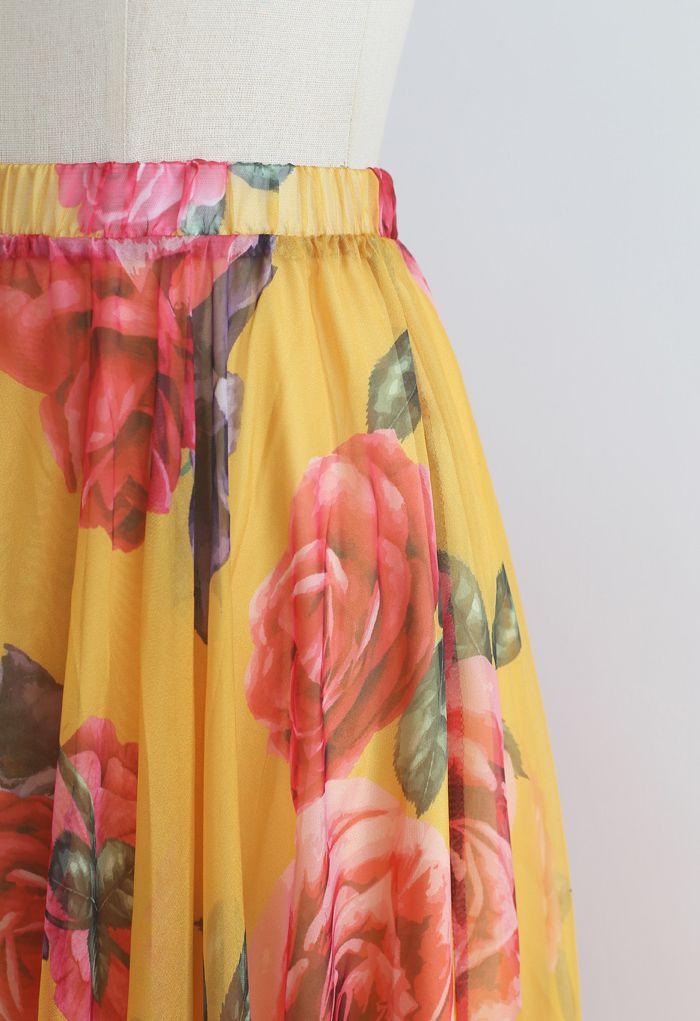 Splendid Rose Chiffon Maxi Skirt