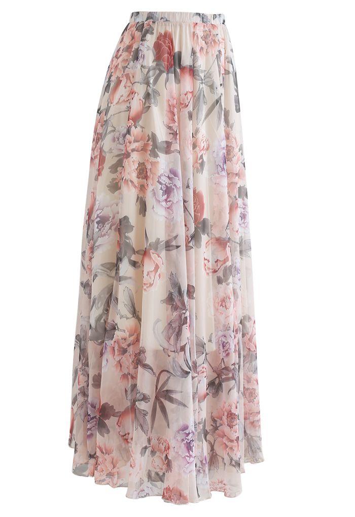 Splendid Peony Chiffon Maxi Skirt
