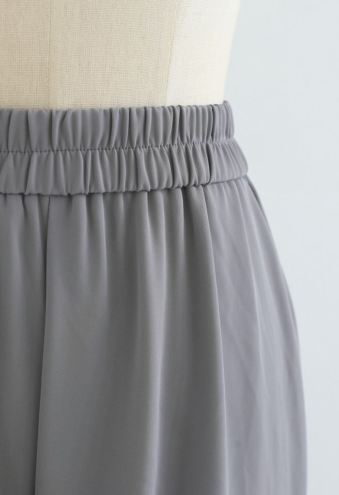 Elastic Waist Straight-Leg Pants in Grey