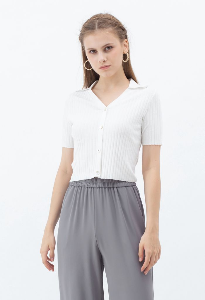 Button Down Collared Crop Top in White