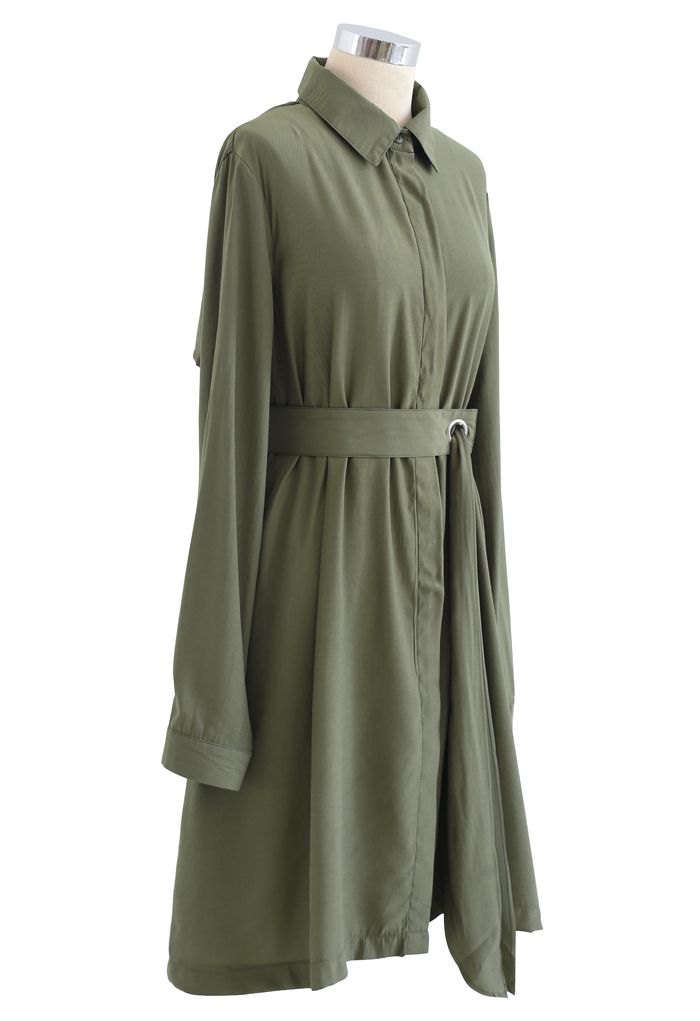 Refined Sash Button Down Shirt Dress in Army Green
