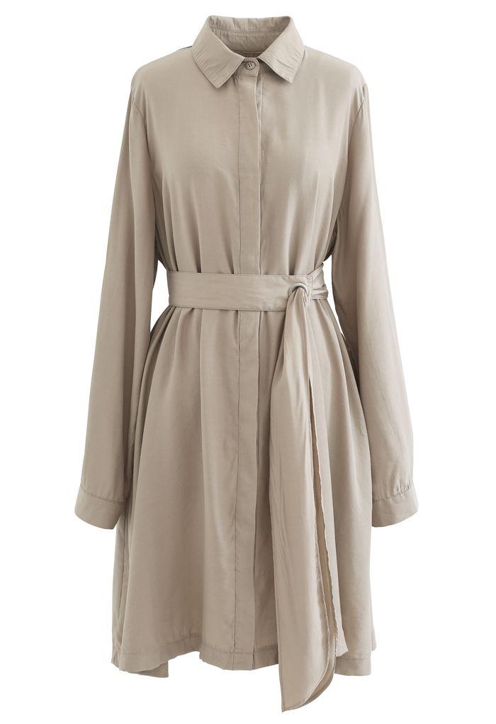 Refined Sash Button Down Shirt Dress in Tan