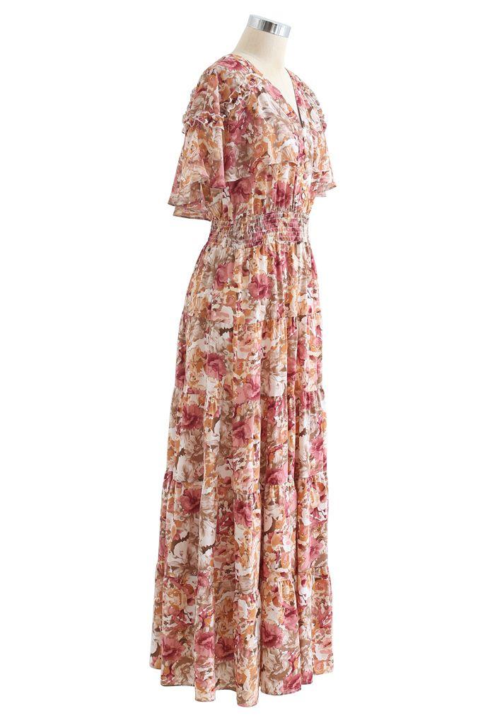Floral Flap Shoulder Sleeveless Maxi Dress