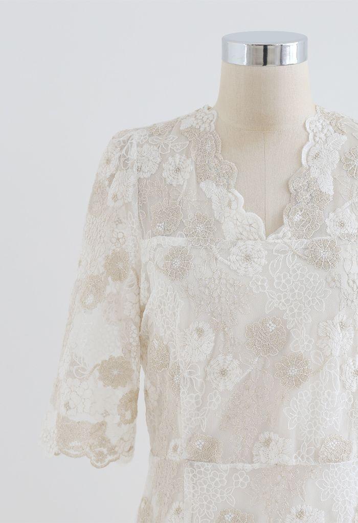 Golden Floral Embroidered V-Neck Midi Dress