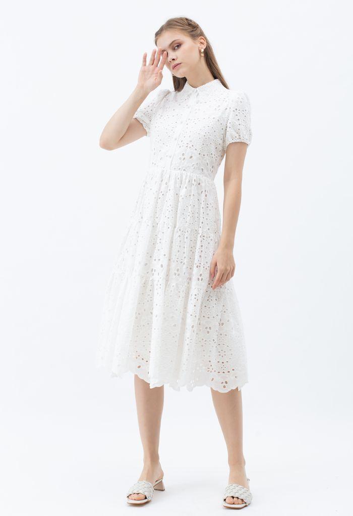 Crochet Collar Embroidered Eyelet Cotton Dress