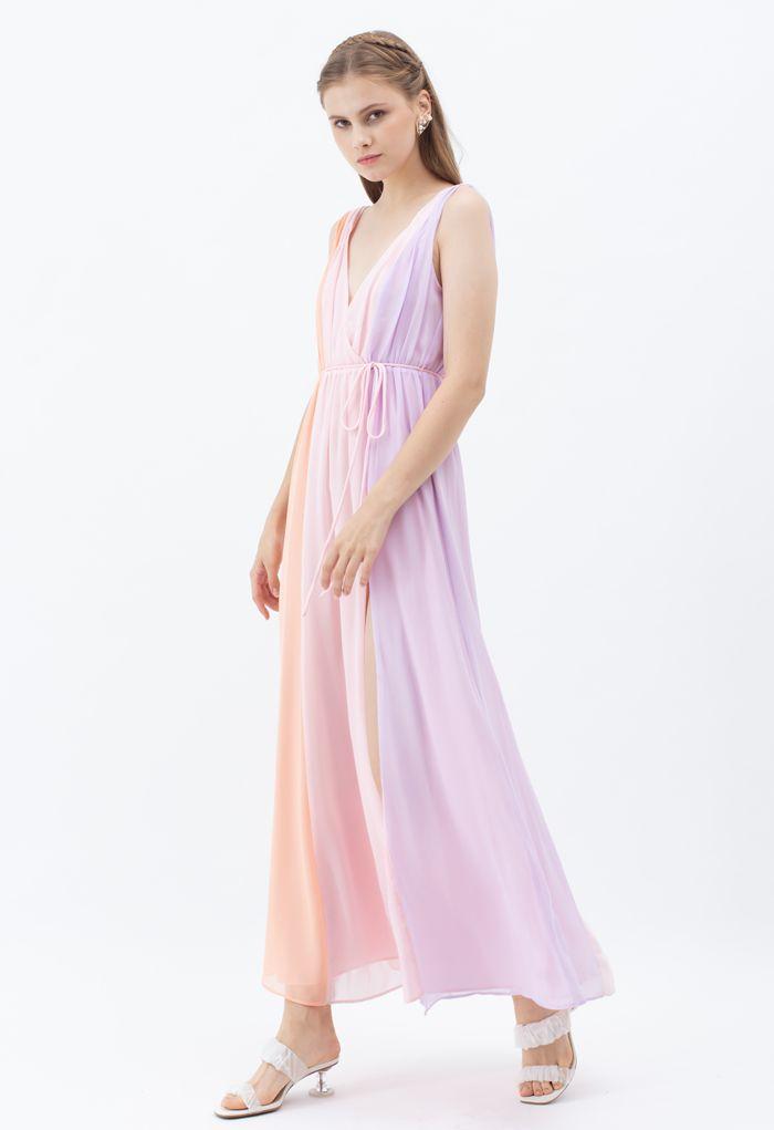 Pastel Color Block Deep V-Neck Chiffon Maxi Dress