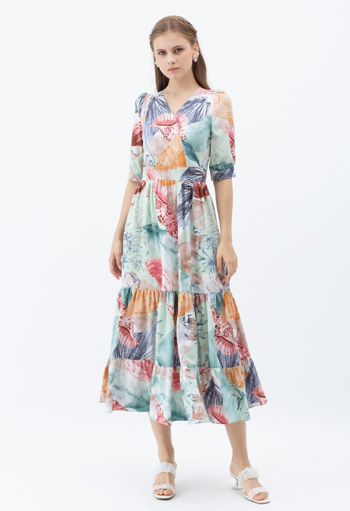 Summer Adventure Wrapped Frilling Maxi Dress