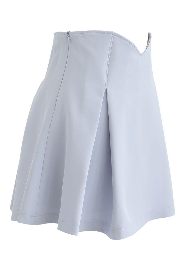 High Waist Corset Pleated Mini Skirt in Baby Blue