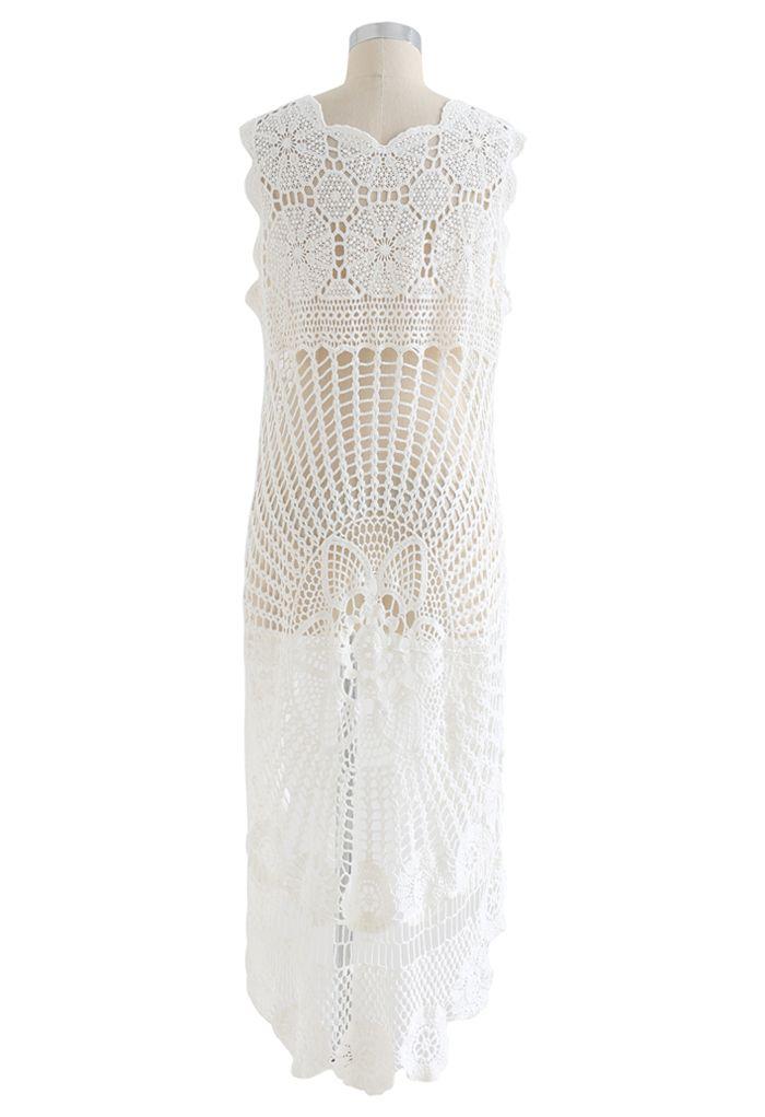 Delicacy Crochet Hi-Lo Cover-Up Top
