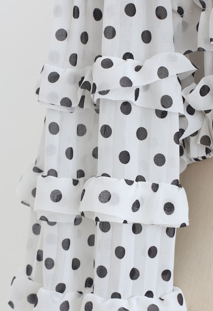 Polka Dots Off-Shoulder Ruffled Crop Top in White