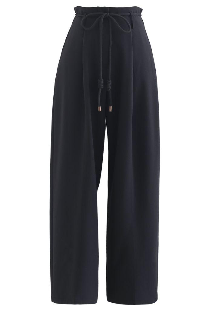 Tie Waist Straight-Leg Pleated Pants in Black