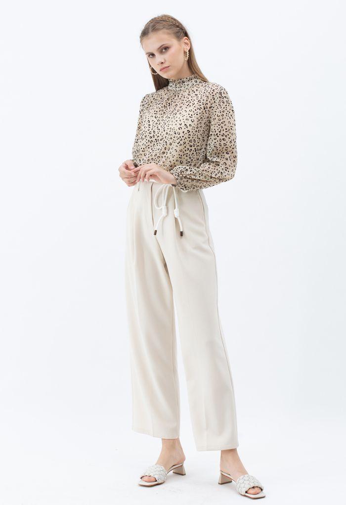 Tie Waist Straight-Leg Pleated Pants in Ivory