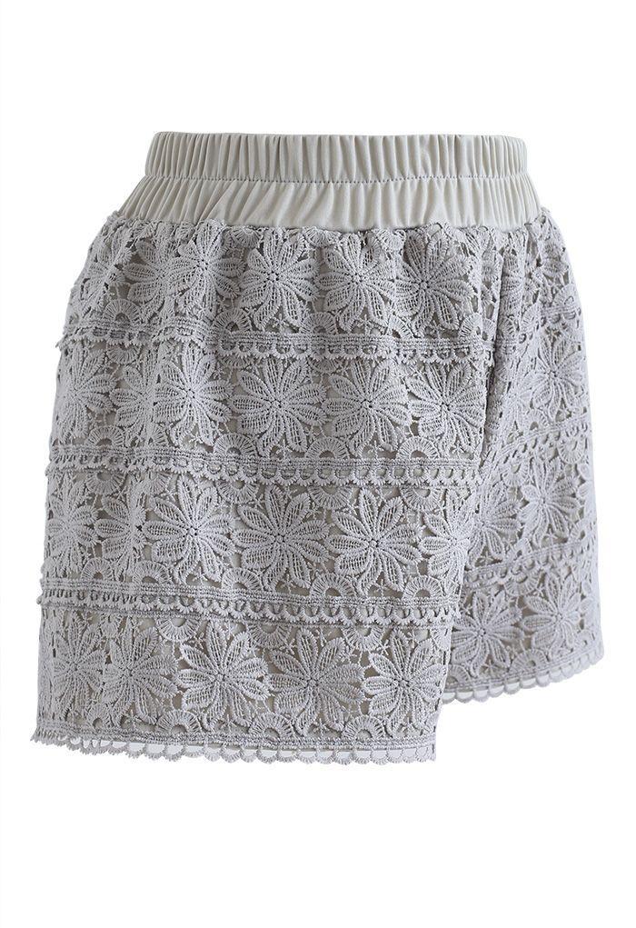 Sunflower Crochet Overlay Shorts in Pea Green