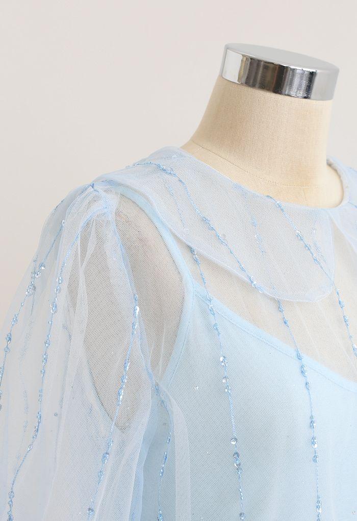 Peter-Pan Neck Tie Back Sequined Mesh Top in Blue