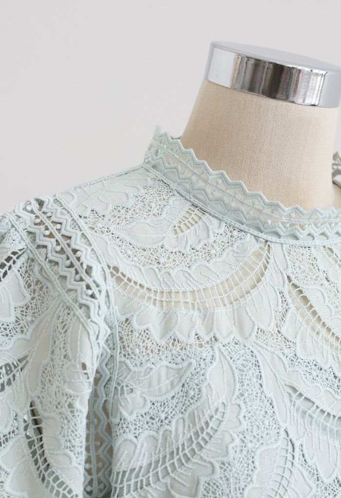 Leaves Shadow Embroidered Crochet Top in Mint