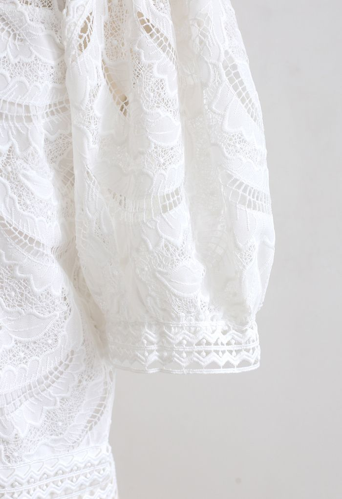Leaves Shadow Embroidered Crochet Top in White