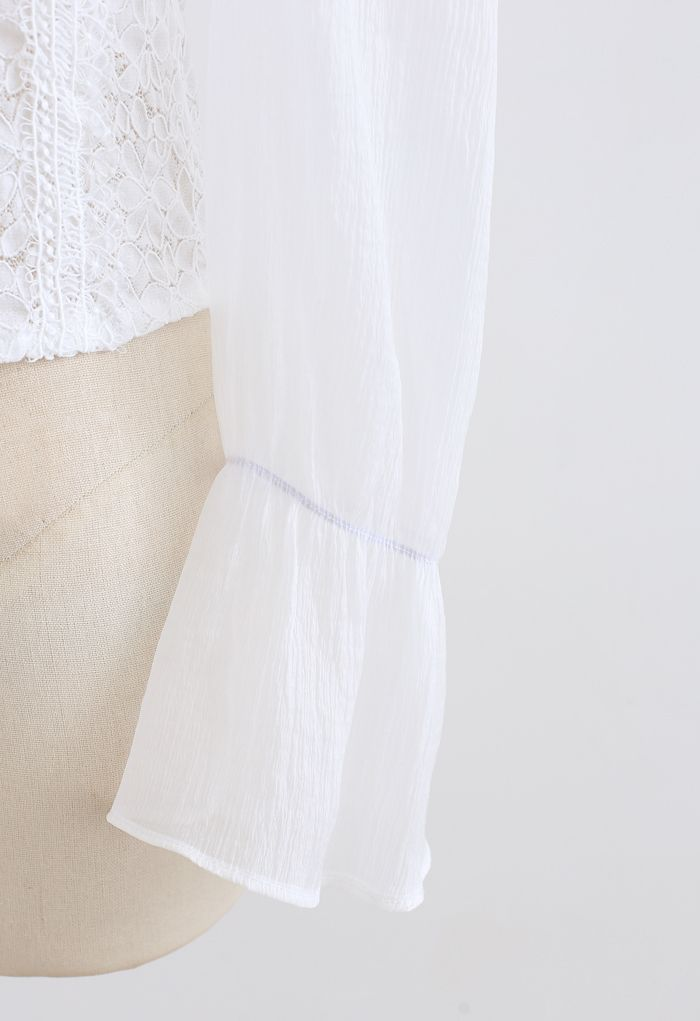 Blooming Sheer Sleeve Lace Top in White