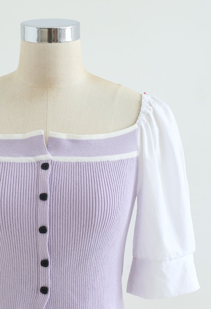 Puff Short Sleeves Buttoned Crop Knit Top in Lilac