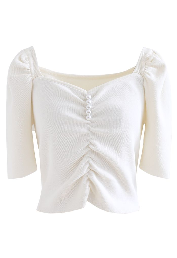 Sweetheart Neck Pearls Ruched Crop Knit Top in White