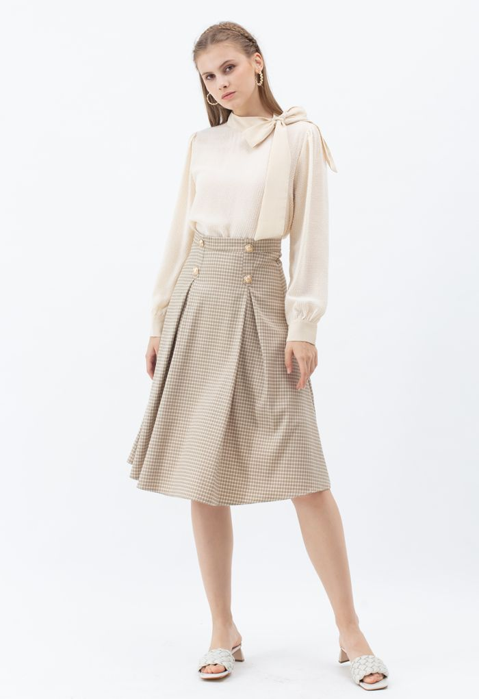 Button Decorated Pleated Gingham Skirt in Khaki