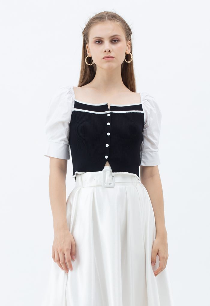 Puff Short Sleeves Buttoned Crop Knit Top in Black