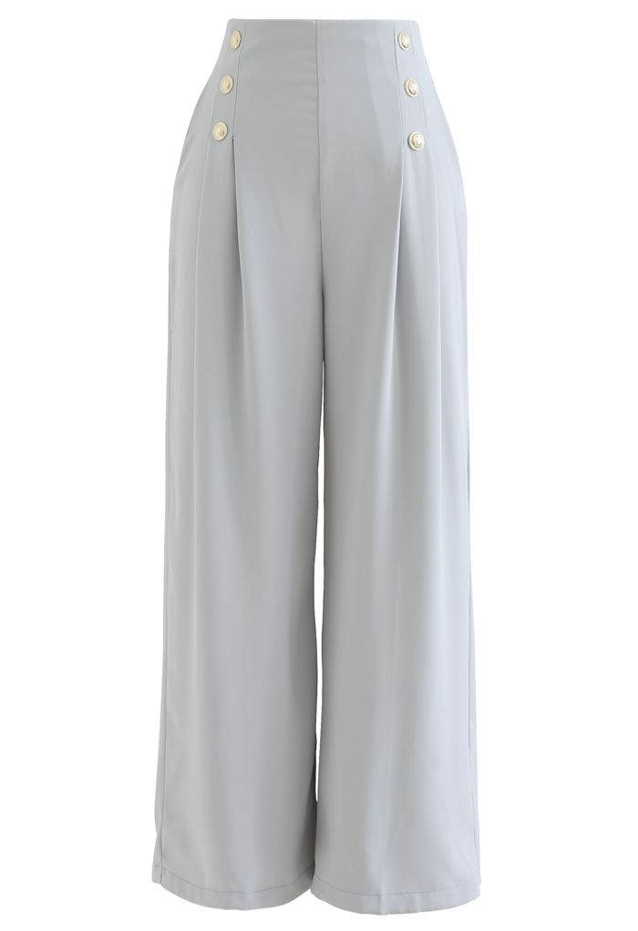 Golden Button Decorated Pleated Pants in Light Blue