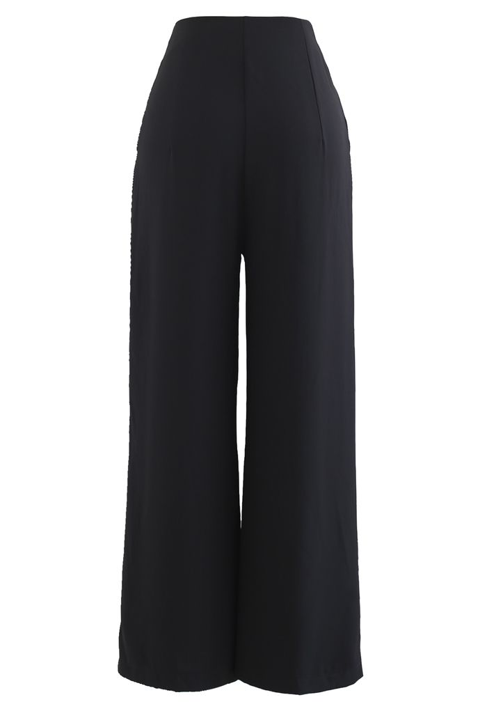 Golden Button Decorated Pleated Pants in Black