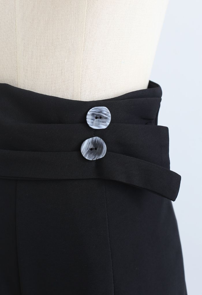 Buttoned Sash Trim Straight Leg Pants in Black