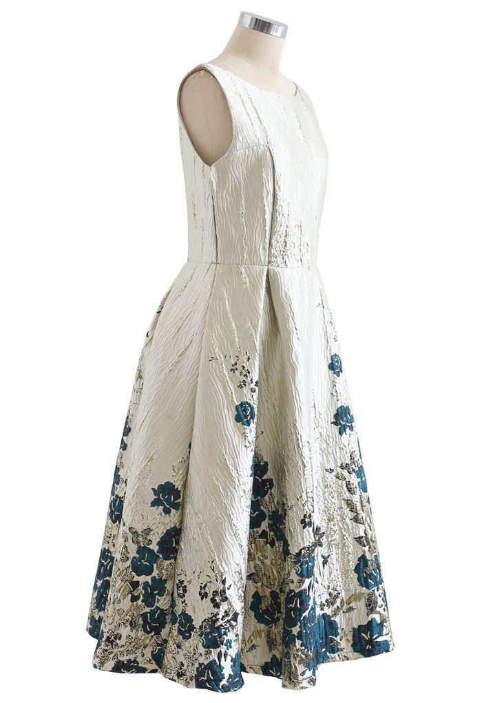 Green Posy Jacquard Embossed Sleeveless Dress