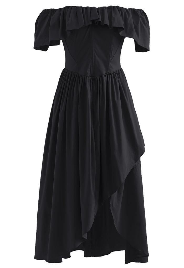 Ruffle Off-Shoulder Flap Asymmetric Dress in Black