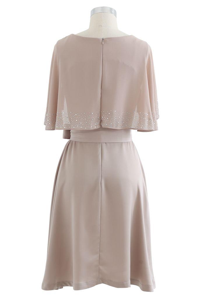 Beading Cape Sleeve Sash V-Neck Satin Dress