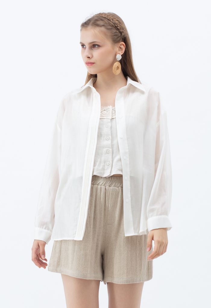 Pintuck Decorated Loose Shirt in Ivory
