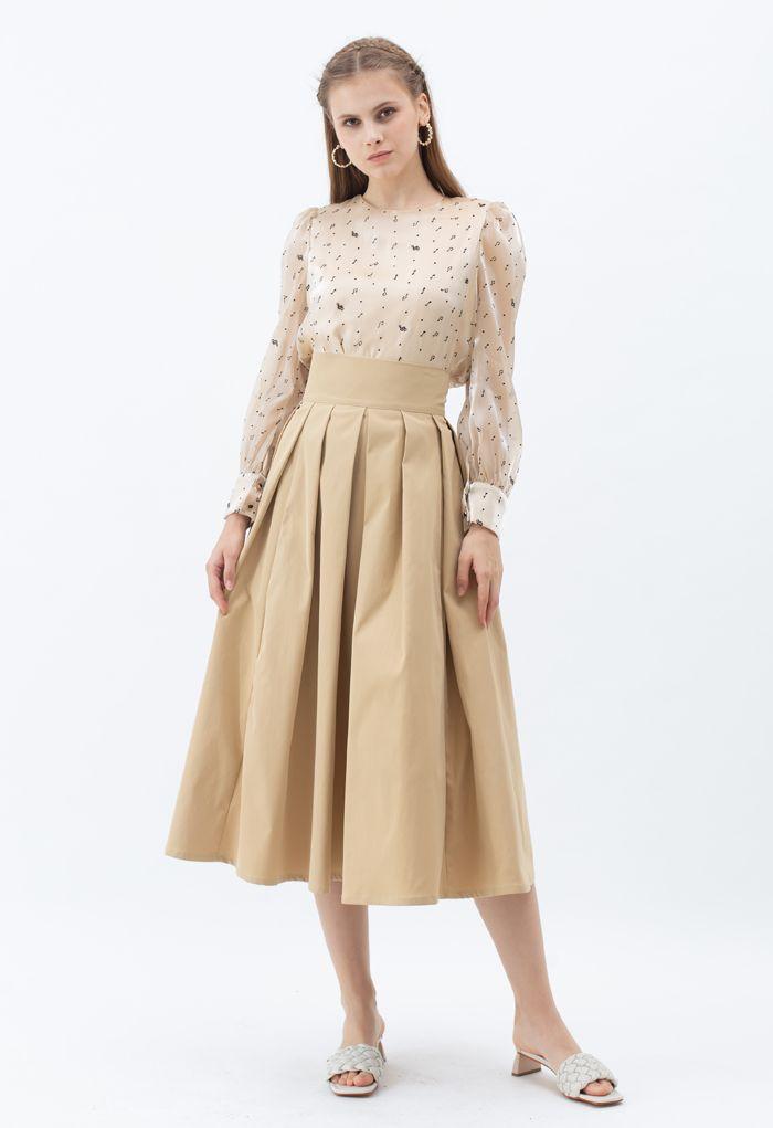 Full Pleated Cotton Midi Skirt in Light Tan