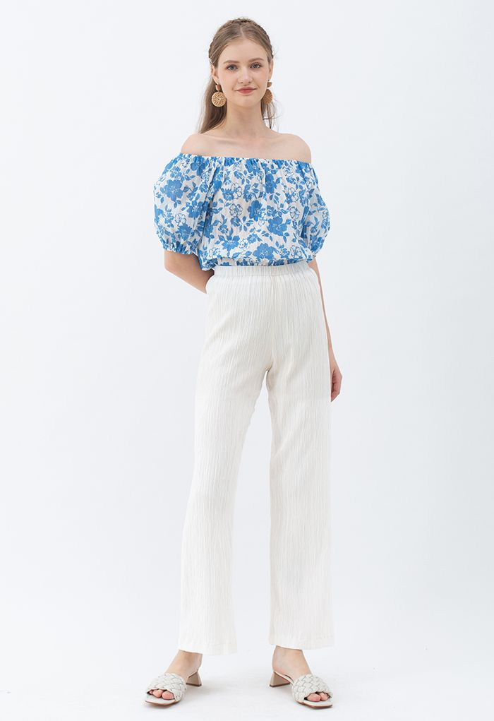 High Waist Pleated Pull-On Pants in White