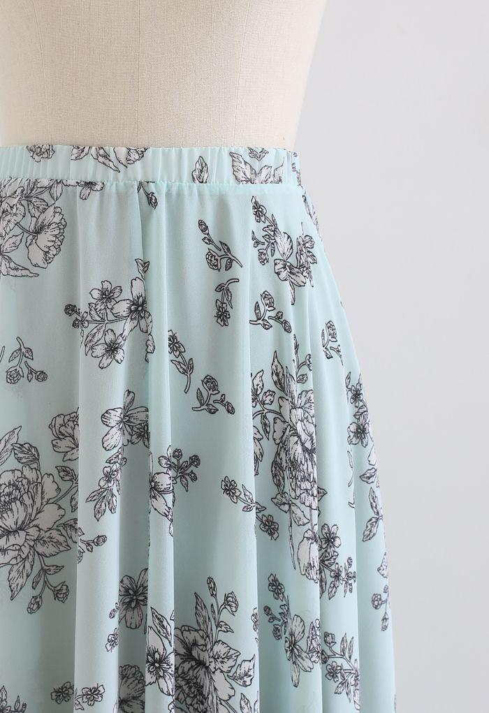 Sketch Peony Chiffon Maxi Skirt in Pistachio