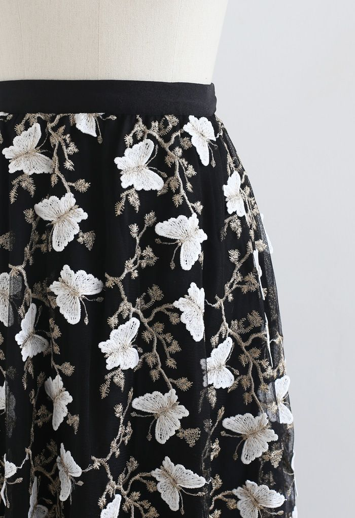 3D Butterfly Embroidered Double Layered Tulle Skirt in Black
