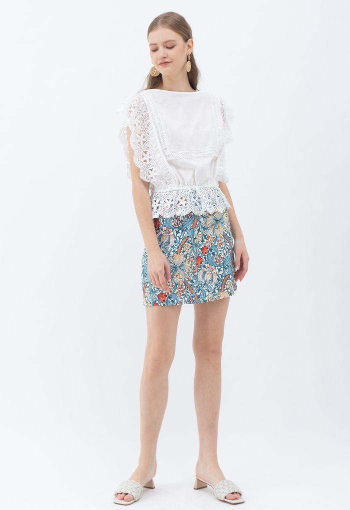 Tulip Print Embossed Bud Skirt in Blue