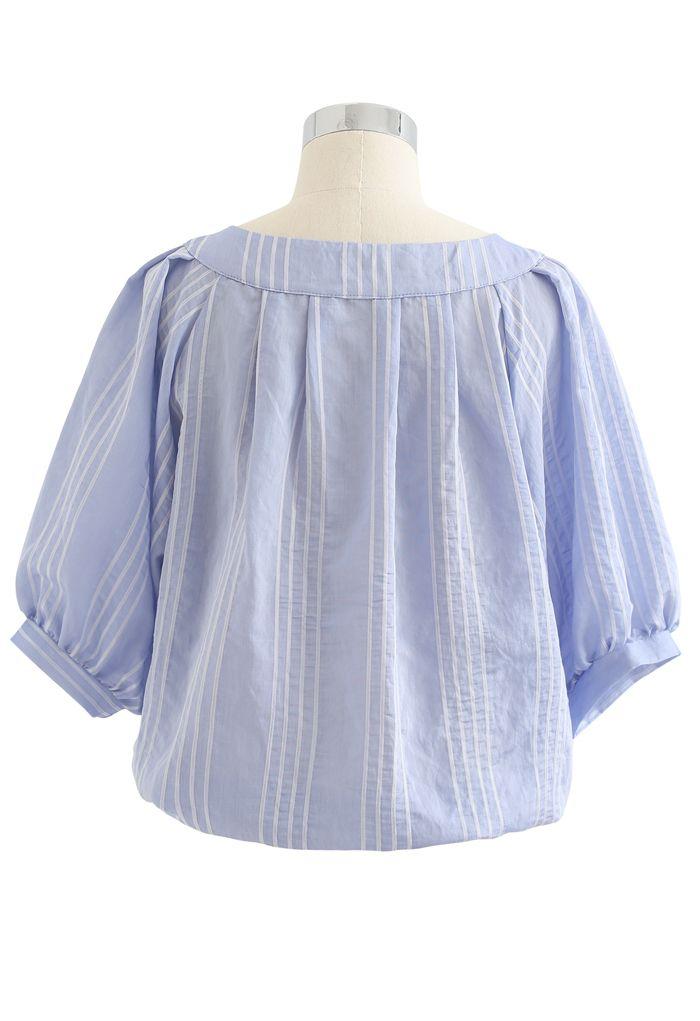 Striped Button Down Crop Shirt in Blue