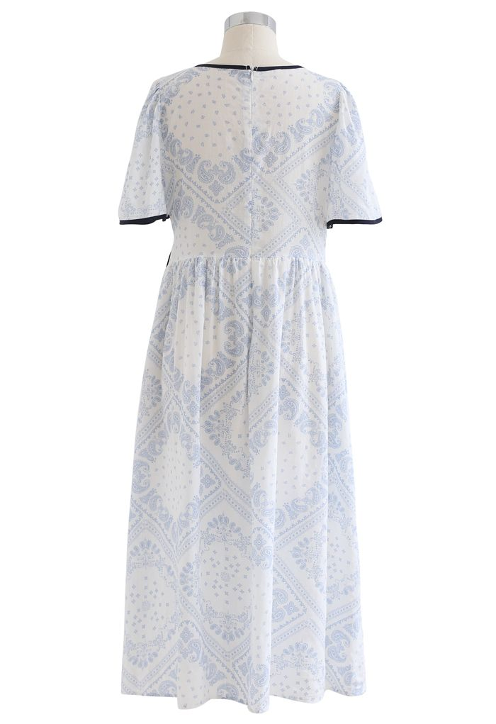Paisley Print Piping Cotton Dress in Light Blue