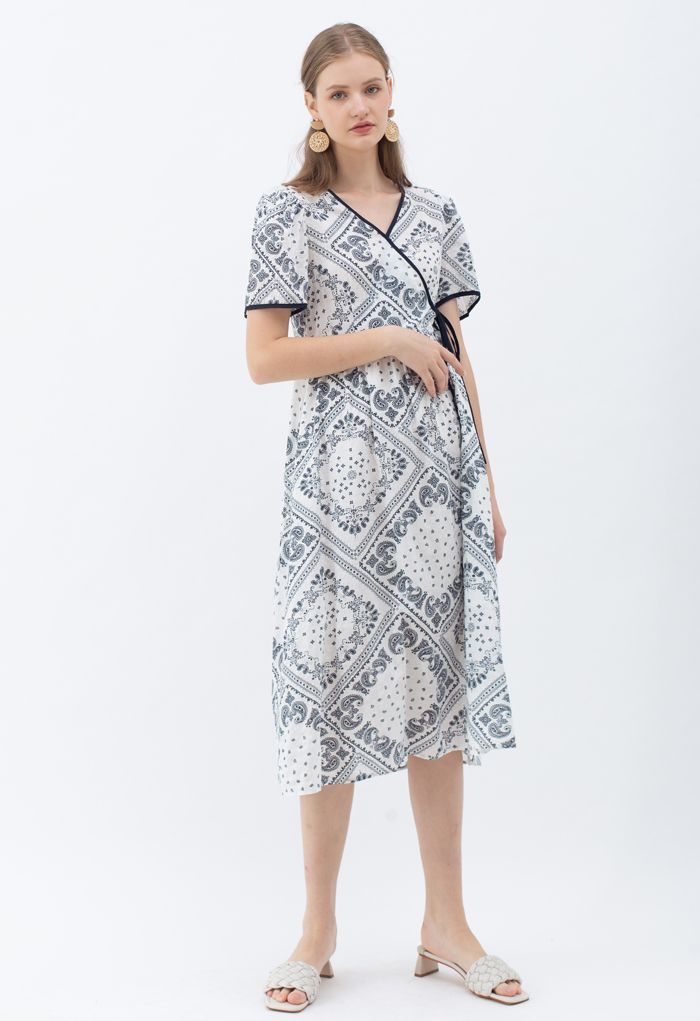 Paisley Print Piping Cotton Dress in Black