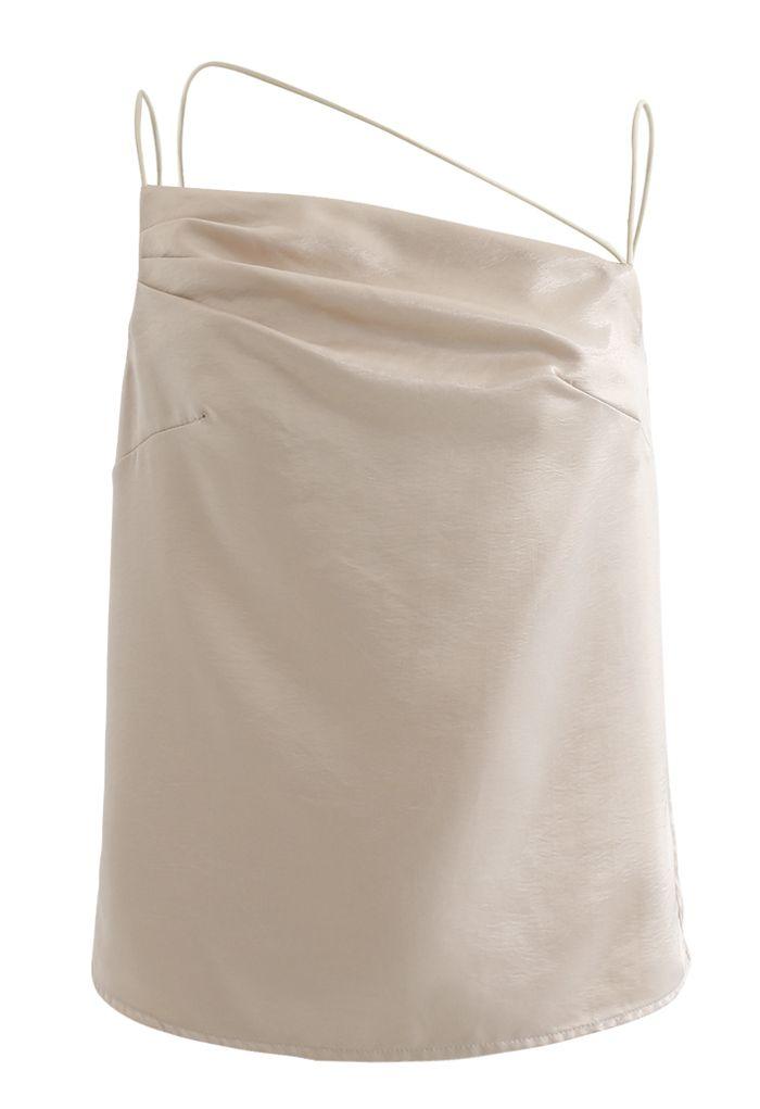 Asymmetric Strappy Satin Cami Top in Gold