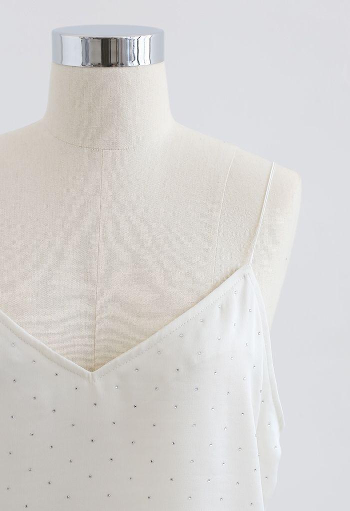 Shimmer V-Neck Cami Top in Ivory